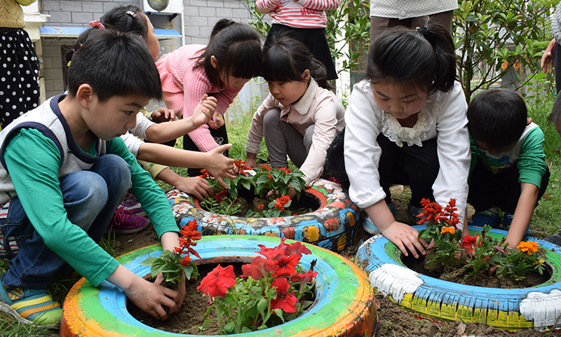 Waste tires recycled into gardens
