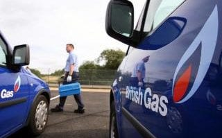 The company logo is displayed on a fleet of engineers' vans at the British Gas Energy Academy