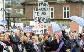 "Photo by Johnny Armstead/REX/Shutterstock (8488357j) WASPI ""Women against state pension inequality"" who are born in the 1950's protest the spring budget by PhilipHammond. State Pension Inequality protest, London, UK - 08 Mar 2017"