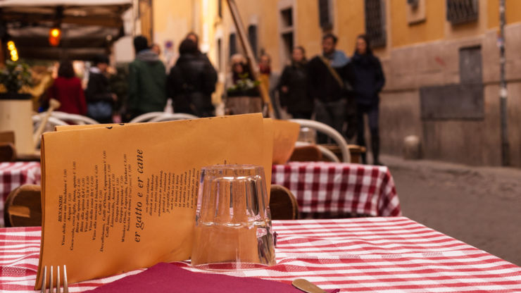 Dining outside in Bologna, Italy.