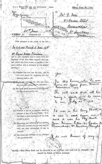 34. Ellis - letter re missing will