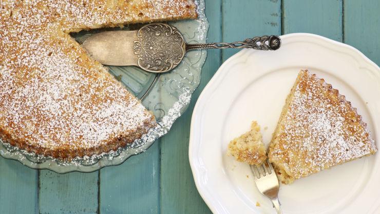 Torta degli addobbi, an almond cake from Bologna, Italy.