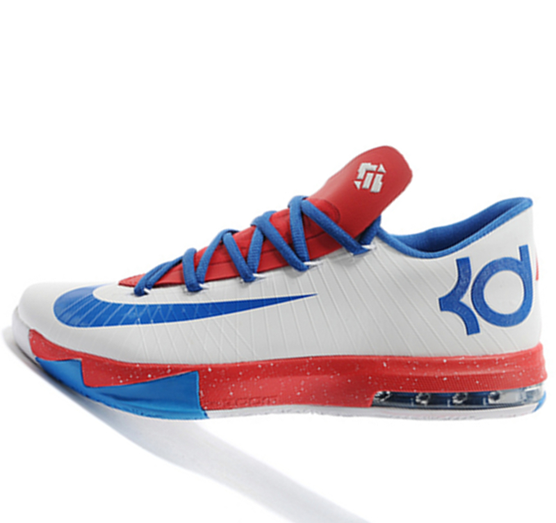 Nike KD VI 6 White blue red Kevin Durant Basketball shoes