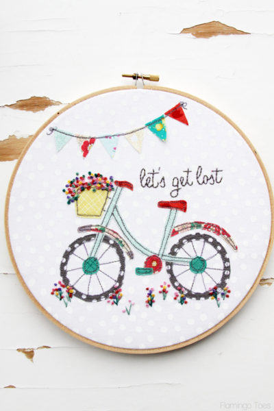 Let's Get Lost Summer Bicycle Embroidery Hoop Art