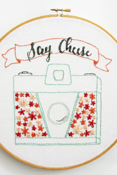 Say Cheese – Retro Floral Camera Embroidery Pattern