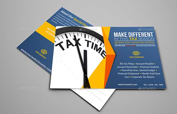 tax and accounting postcard template