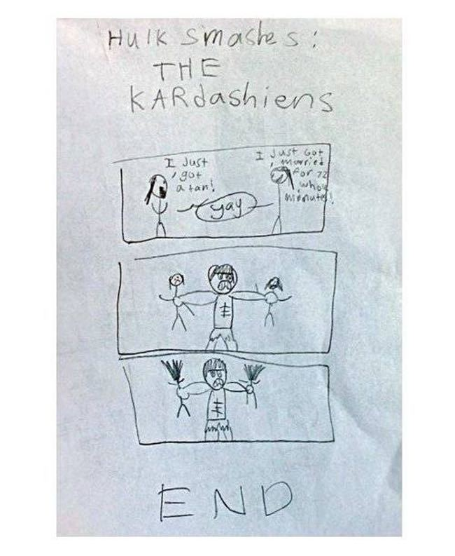 The Incredible Hulk vs. the Ka... is listed (or ranked) 3 on the list 51 Unintentionally Hilarious Kids' Drawings