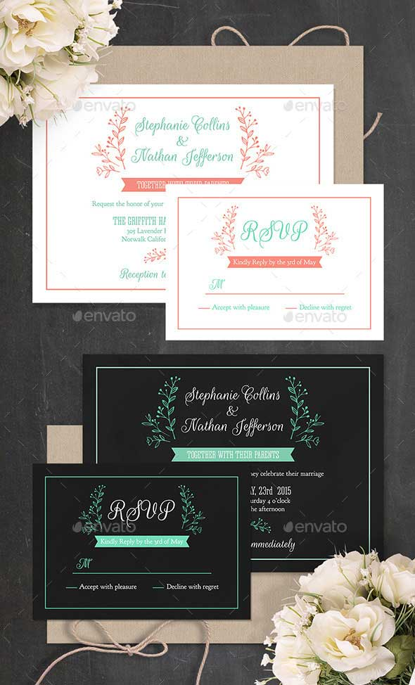 Modern Wedding Invitation PSD Template