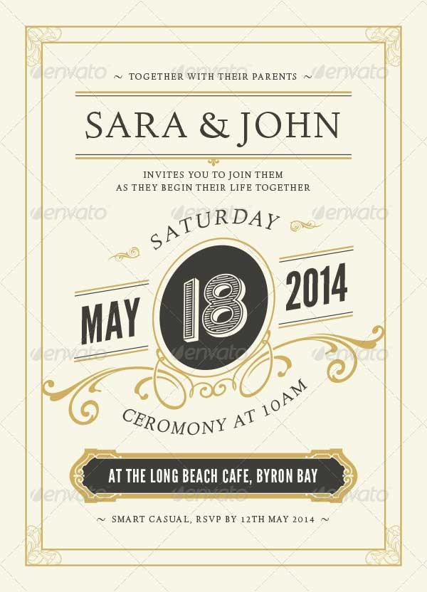 Print Ready Wedding Invitation PSD Template Download