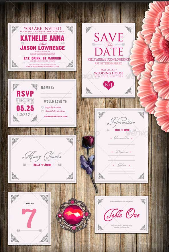 Pinky Love Wedding Invitation Package