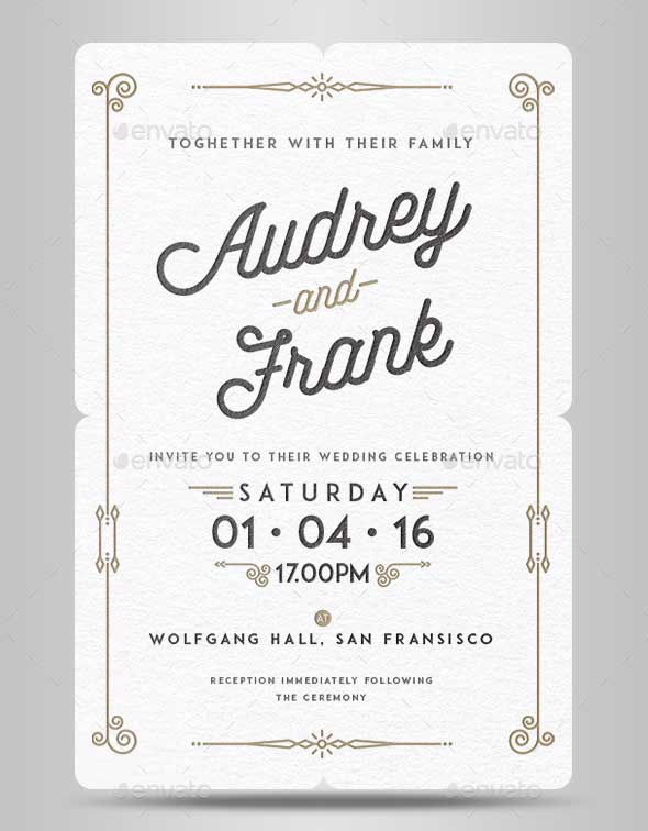 Letterpress Wedding Invitation Template