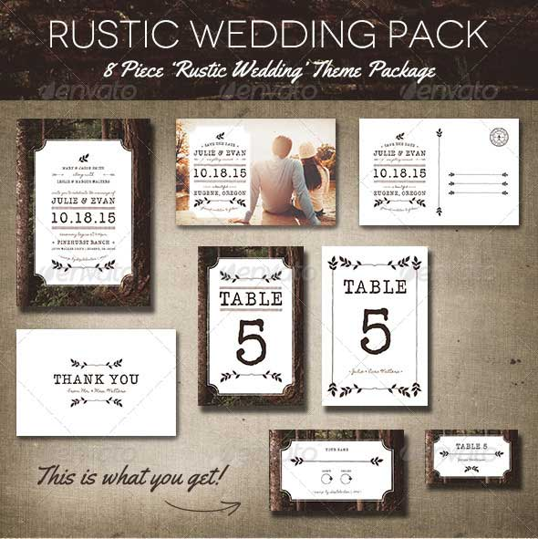 Rustic Wedding Invitation Templates Pack