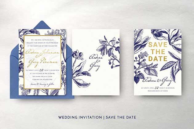 Gold & Navy Wedding Invitation