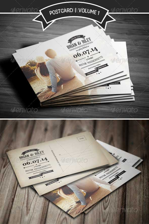 Save The Date Postcard Wedding Invitation Template