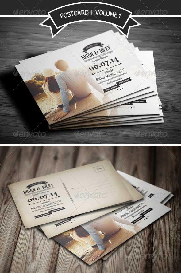 Save The Date Postcard Wedding Invitation Template