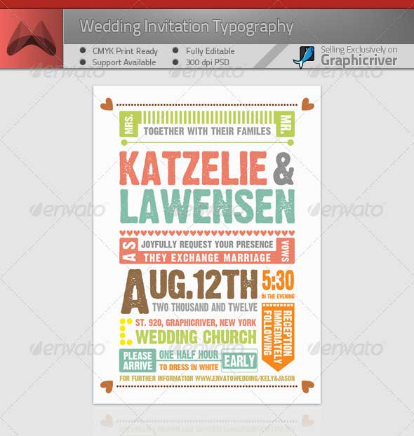 Wedding Invitation Typography PSD Template