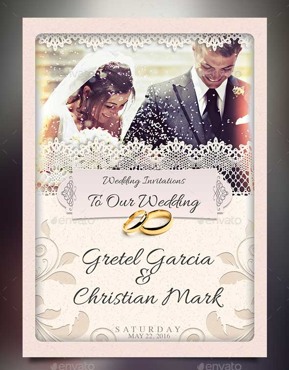 Photoshop PSD Wedding Invitation Template