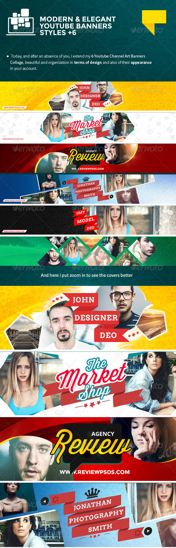 6 elegant youtube banner templates