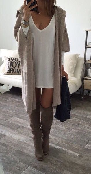 casual chic knee high boots oversized cardigan and shirt dress