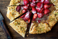 Pistachio frangipane and strawberry compote give a subtle sophistication to this casual tart.
