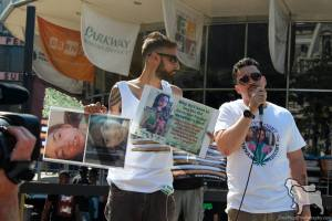 Ricardo Rivera (right) demanding children receive proper medical cannabis treatment, such as his daughter Tuffy in NJ.