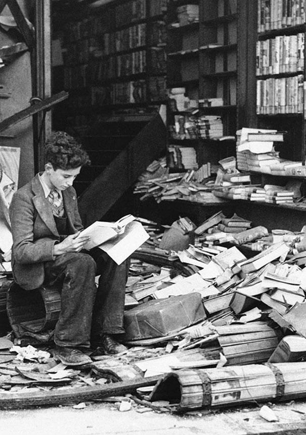 A bombed Bookstore-in-London-ruined-by-an-air-raid-1940