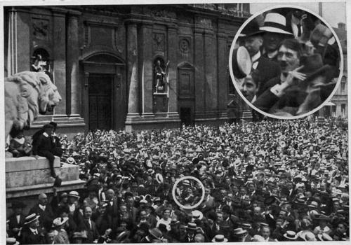 a-young-adolf-hitler-at-Munich's Odeonsplatz on August 2 1914 to cheer the declaration of war on Russia