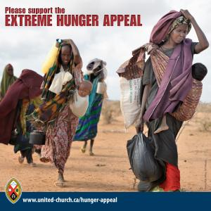 Women carrying children in a desert environment; text: Please support the extreme hunger appeal.