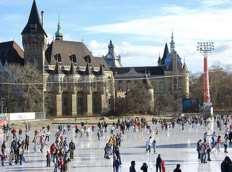 Budapest Ice Skating Rink by the Vajdahunyad Castle