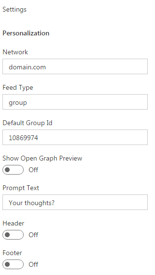 Yammer Feed WebPart Properties
