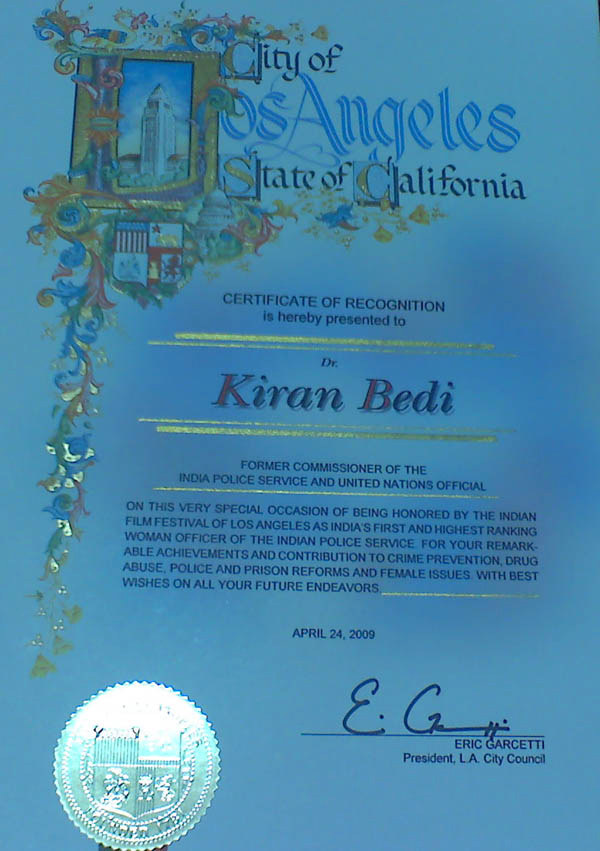 Los Angeles Recognition award for Kiran bedi