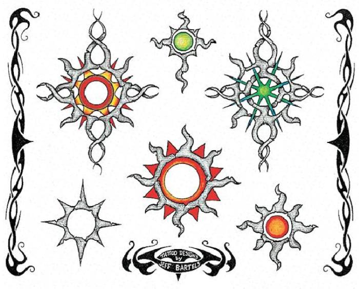 图腾太阳纹身图案