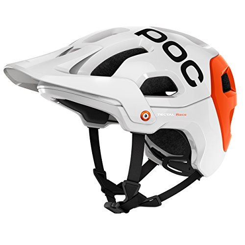POC Tectal Race Bike Helmet, Hydrogen White/Iron Orange, Medium/Large