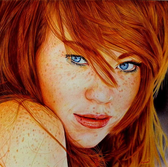 red-head-Ballpoint-Pen-Art