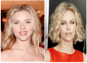 Scarlett Johansson (left) via Imdb.com and Charlize Theron (right) via the hairstyler.com