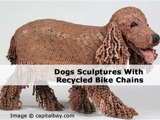 Dogs Sculptures With Recycled Bike Chains