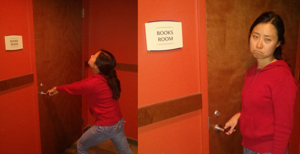 Mika trying to open the books room. And failing.