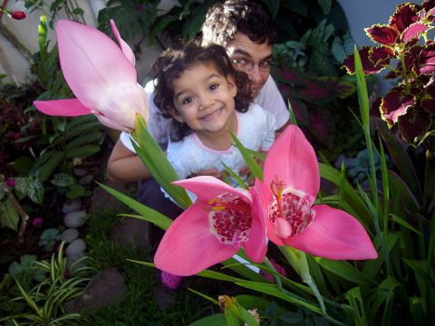 Luciana and Federico in the garden