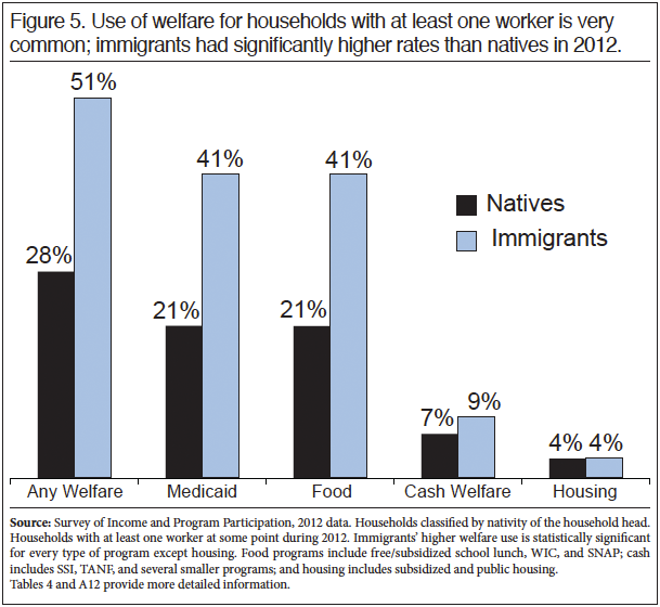 Graph: Use of Welfare for households with at least one worker is very common