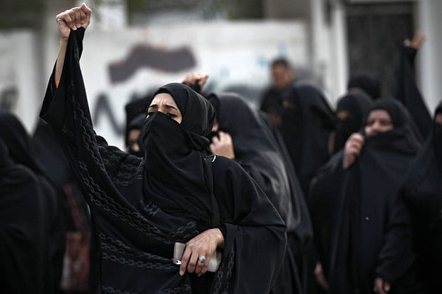 Protesters shout slogans during a demonstration in Bahrain after Saudi Arabia executed prominent Saudi Shiite cleric Sheikh Nimr al-Nimr, in Manama, Bahrain