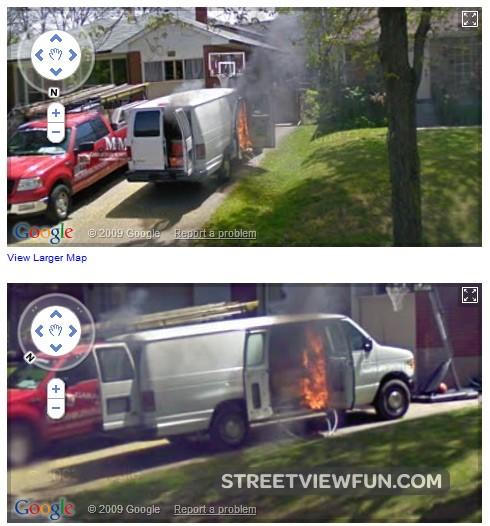 burning-van-in-canada-google-maps