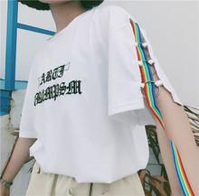 T恤女 子飘带圆圈宽松短袖 韩国ulzzang原宿BF风刺绣字母袖 夏季新款