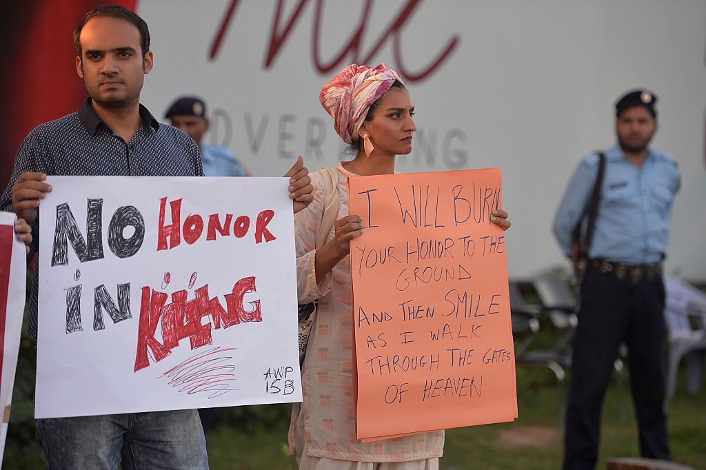 Pakistani civil society activists in Islamabad protest the murder