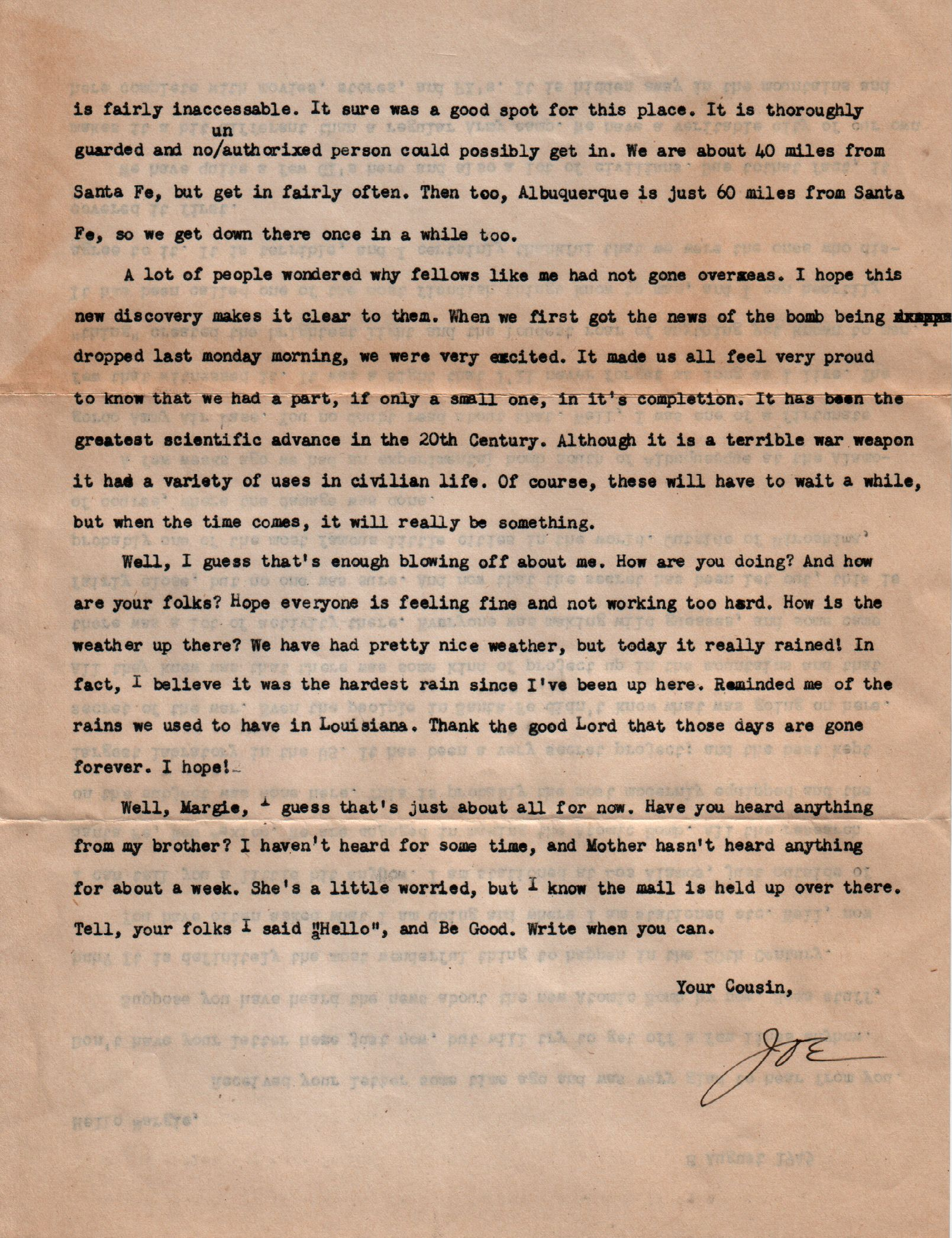 World War Two Letters - 9 August 1945 2