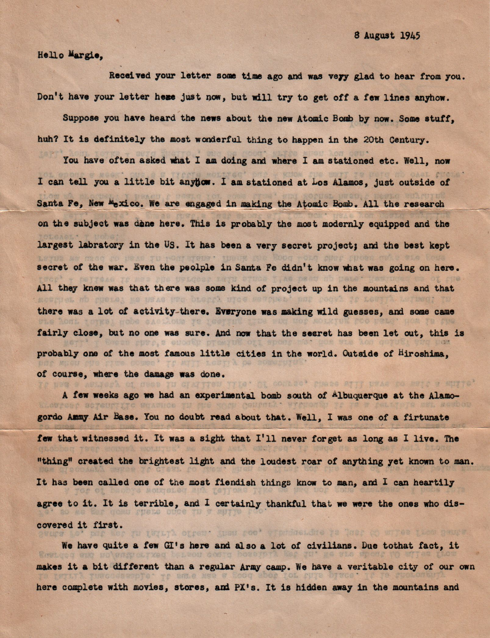 World War Two Letters - 9 August 1945 1