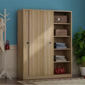推拉门衣柜简约现代 储物柜子超大容量实木质移门大衣柜卧室衣橱