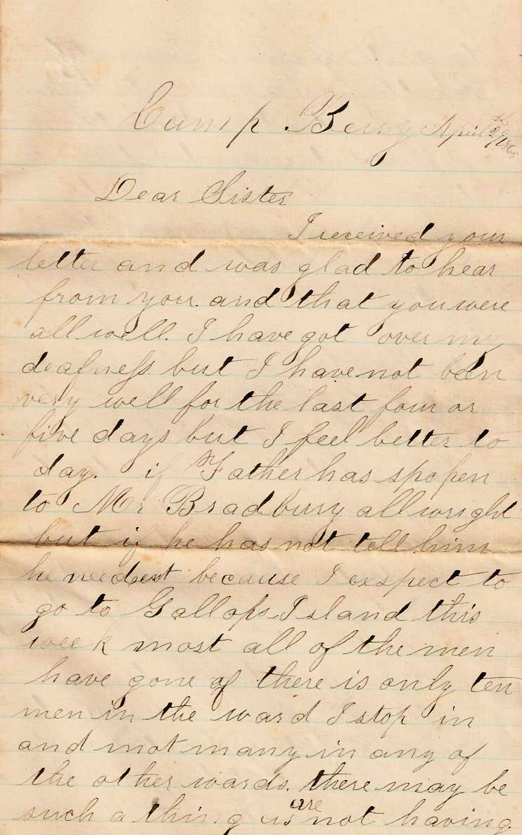 American Civil War Letters 1st of may 1865