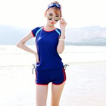 短袖 遮手臂保守游泳 学生加大码 温泉泳衣女装 运动款 分体平角裤 韩版