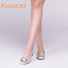 女DA87109 牛漆皮金属方扣粗中跟浅口单鞋 接吻猫2017春季新款