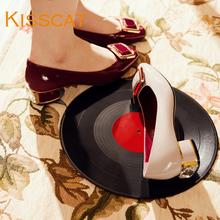 DA76506 方扣低跟浅口单鞋 女鞋 牛漆皮粗跟女鞋 时尚 接吻猫新款